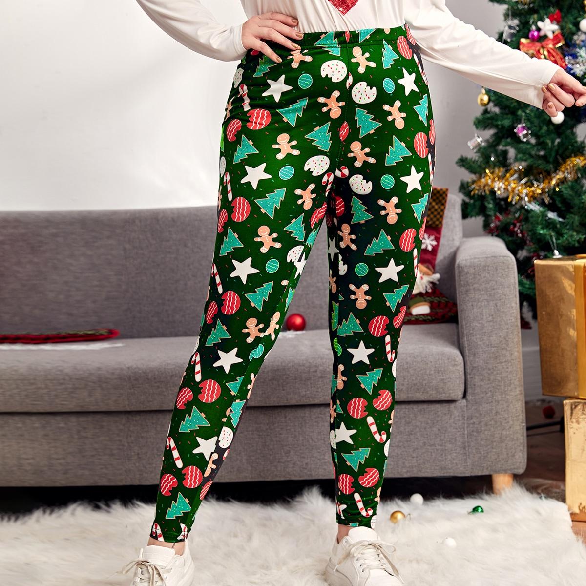 """Леггинсы размера плюс с принтом """"рождество"""" и эластичной талией"""
