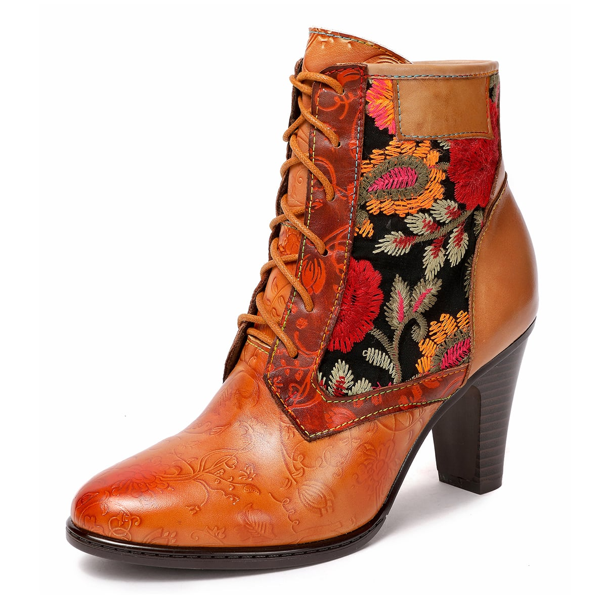 Floral Embroidery Leather Chunky Boots