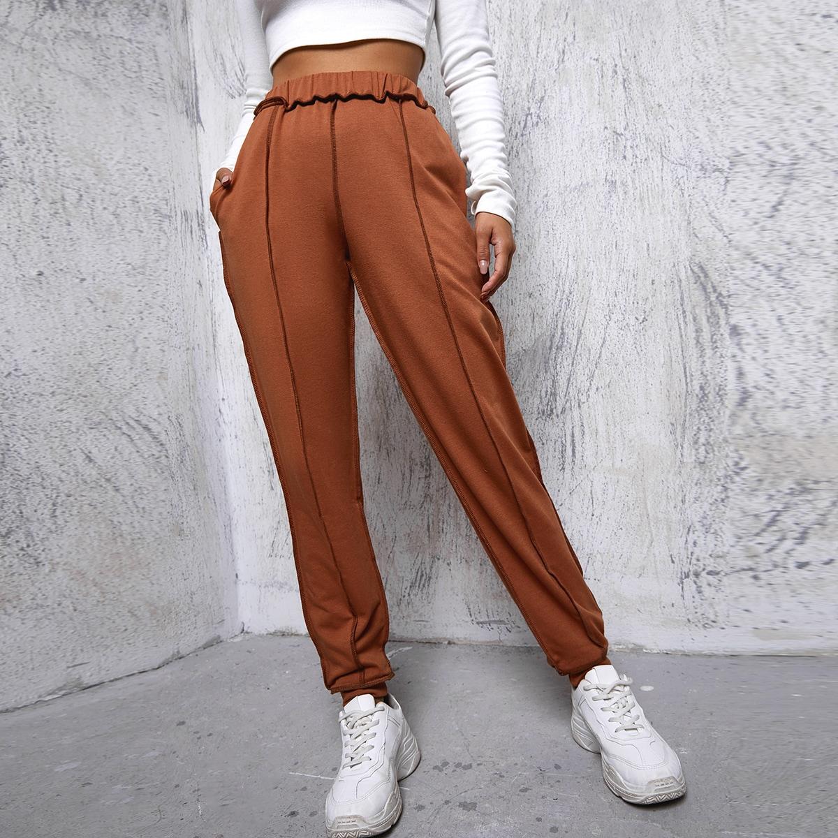 Одноцветный повседневный брюки
