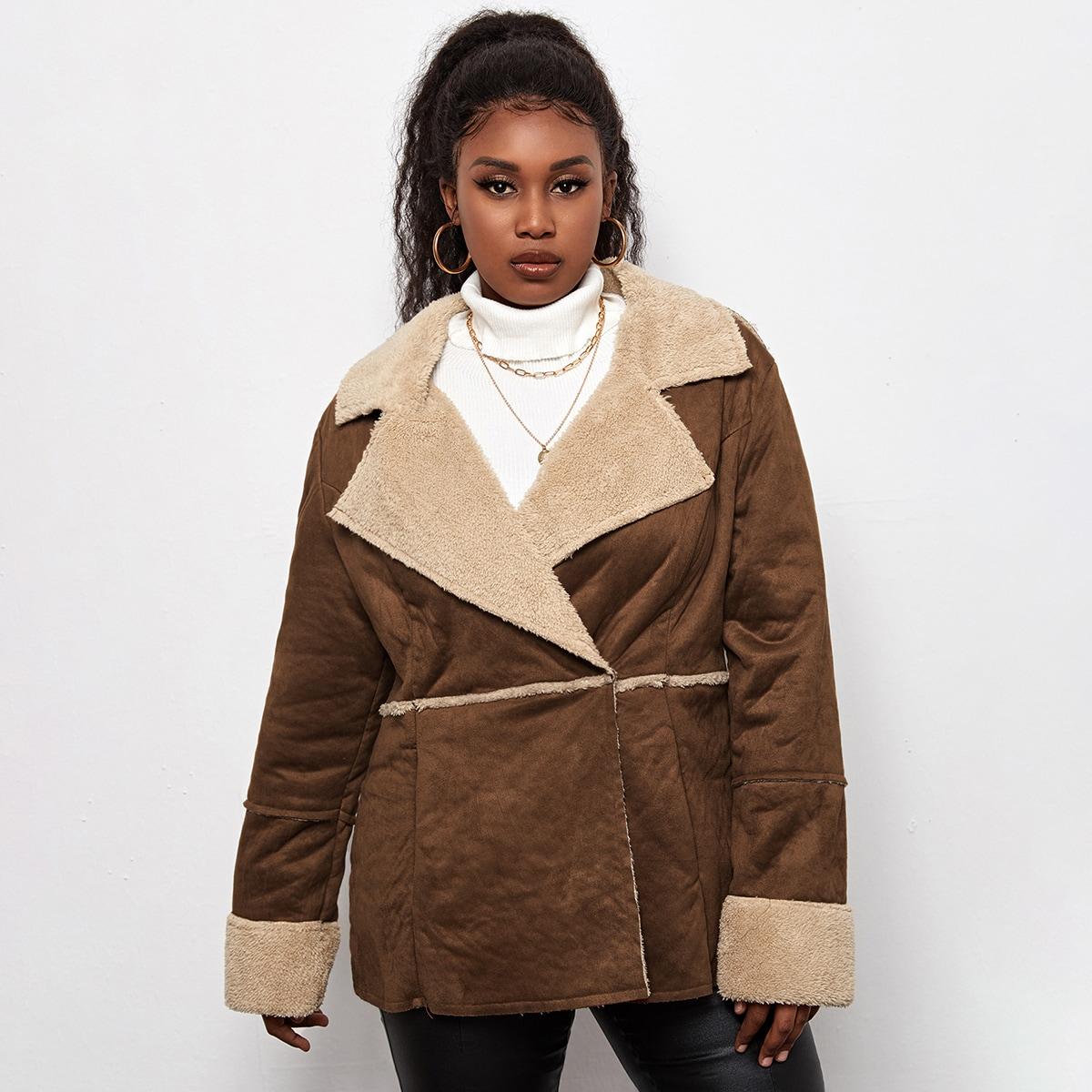 с карманами Контрастный цвет Повседневный Плюс размеры пальто
