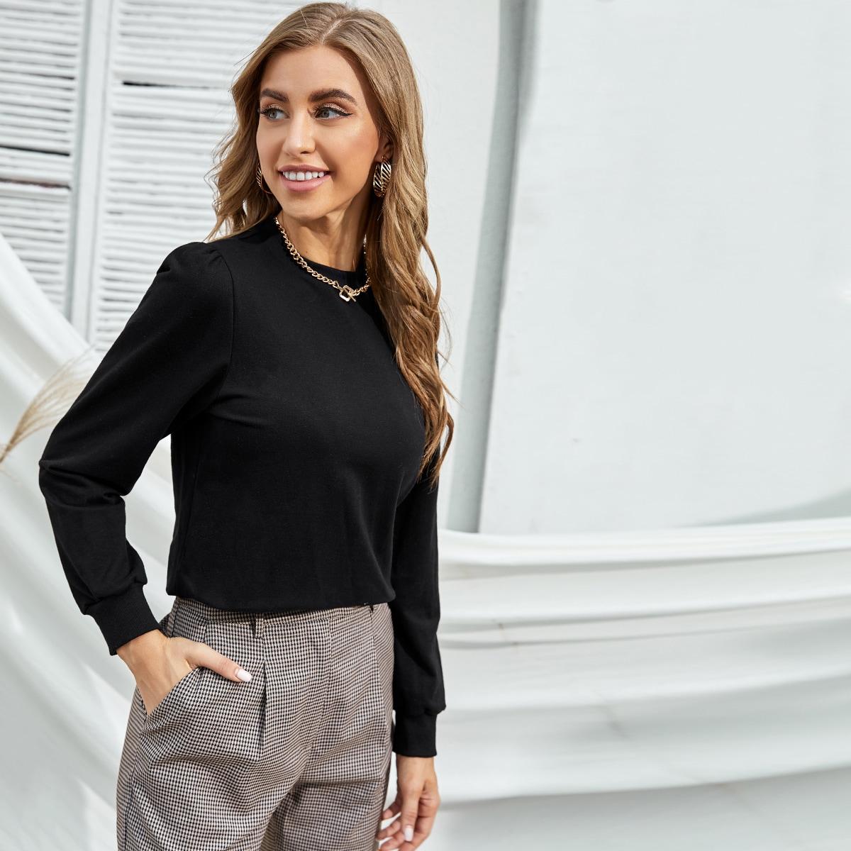 Solid Long Sleeve Sweatshirt