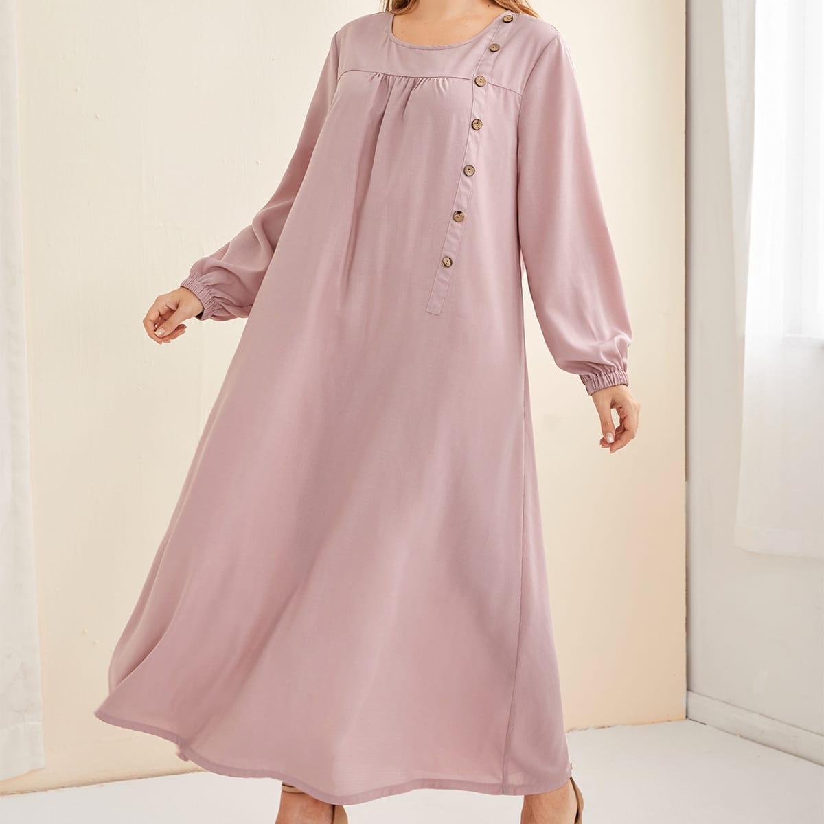 Пуговица Одноцветный Повседневный Платья размер плюс