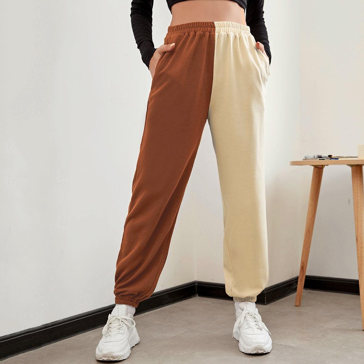 Двухцветные спортивные брюки