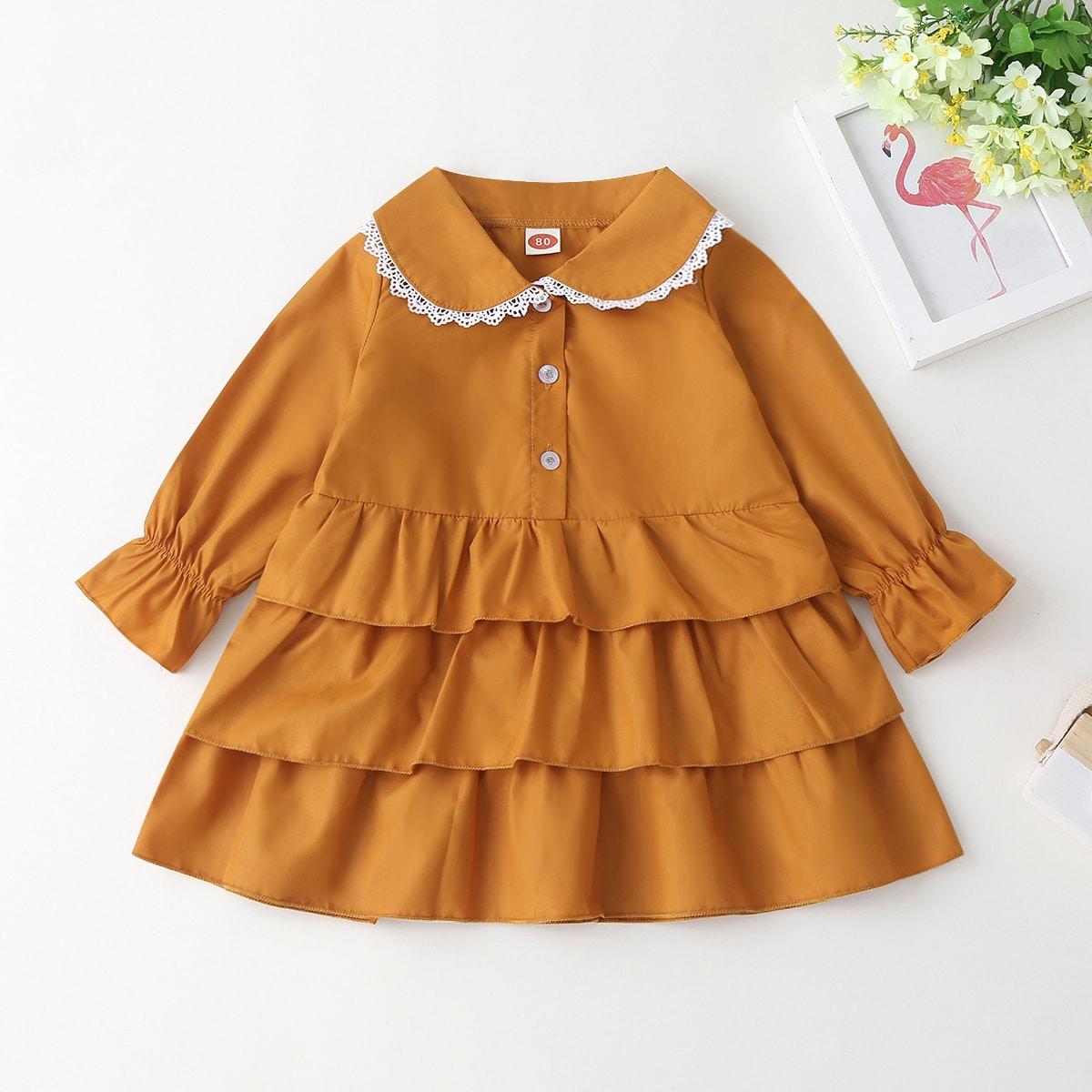 Платье-рубашка с кружевной отделкой для девочек от SHEIN