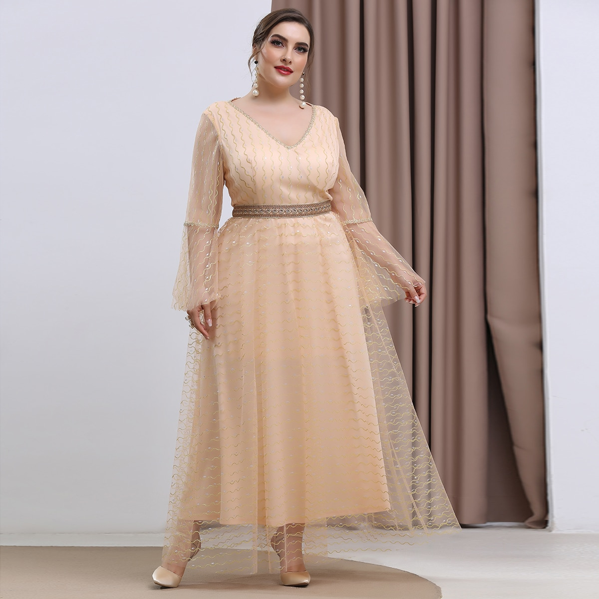 Plus Embroidery Mesh Overlay Formal Dress