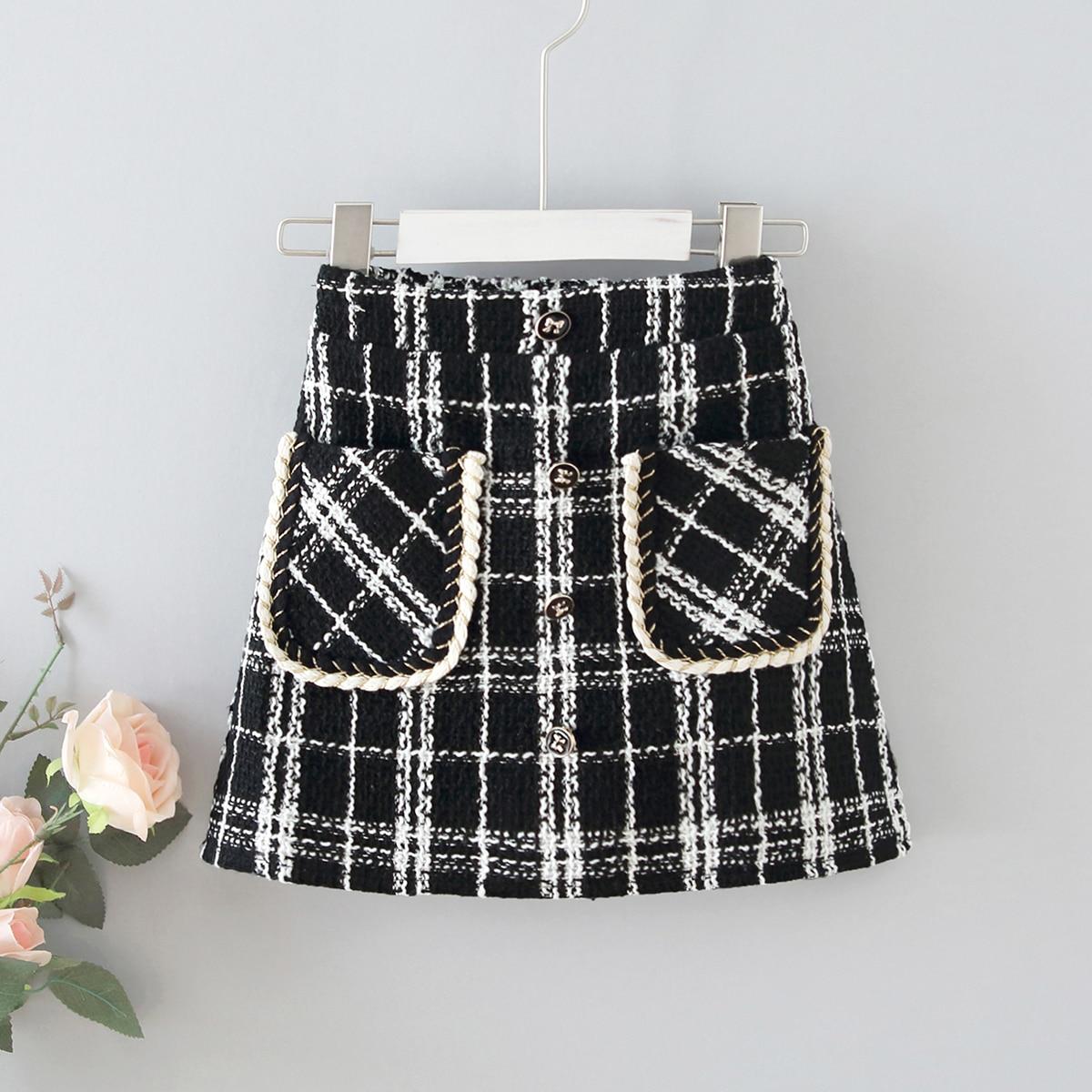 С карманами клетчатый повседневный юбки для девочек