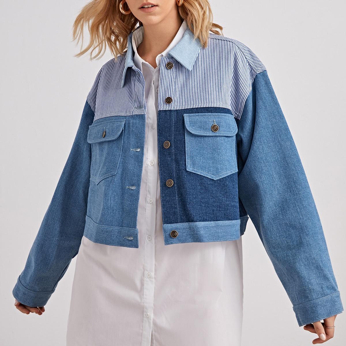 Джинсовая куртка в полоску с цветными блоками и карманами с клапанами