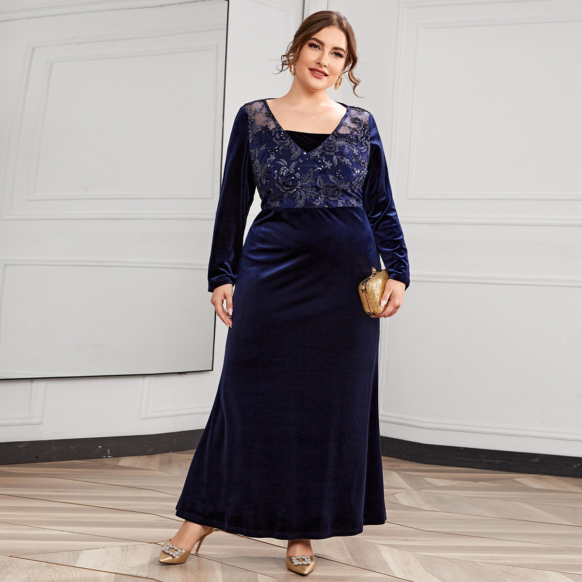 Вышивка Цветочный Очаровательный Платья размер плюс