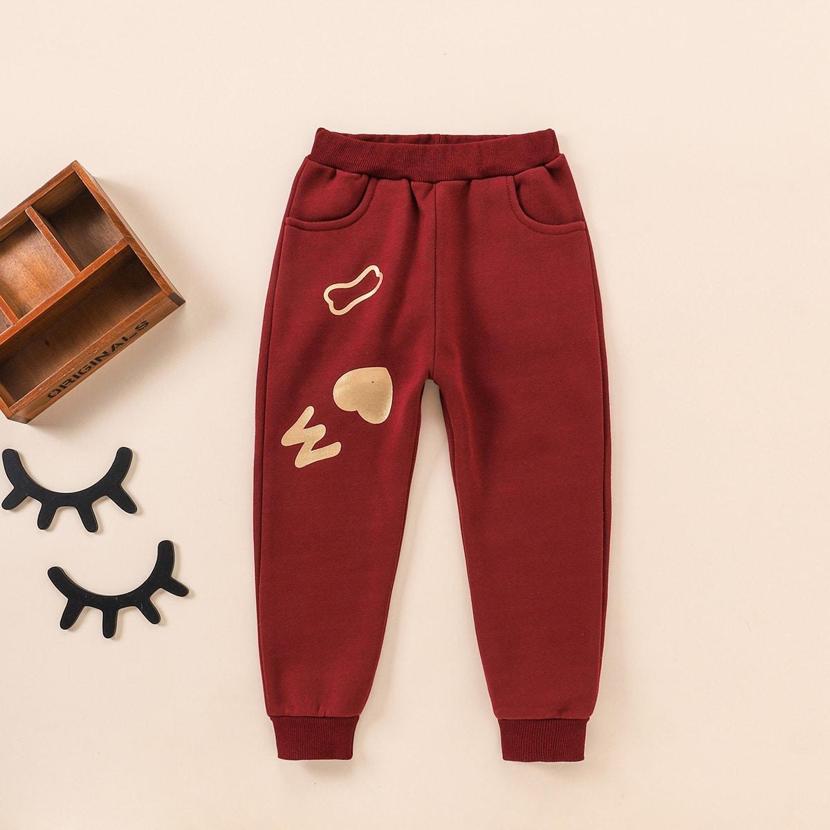 Спортивные брюки с карманом и принтом для девочек