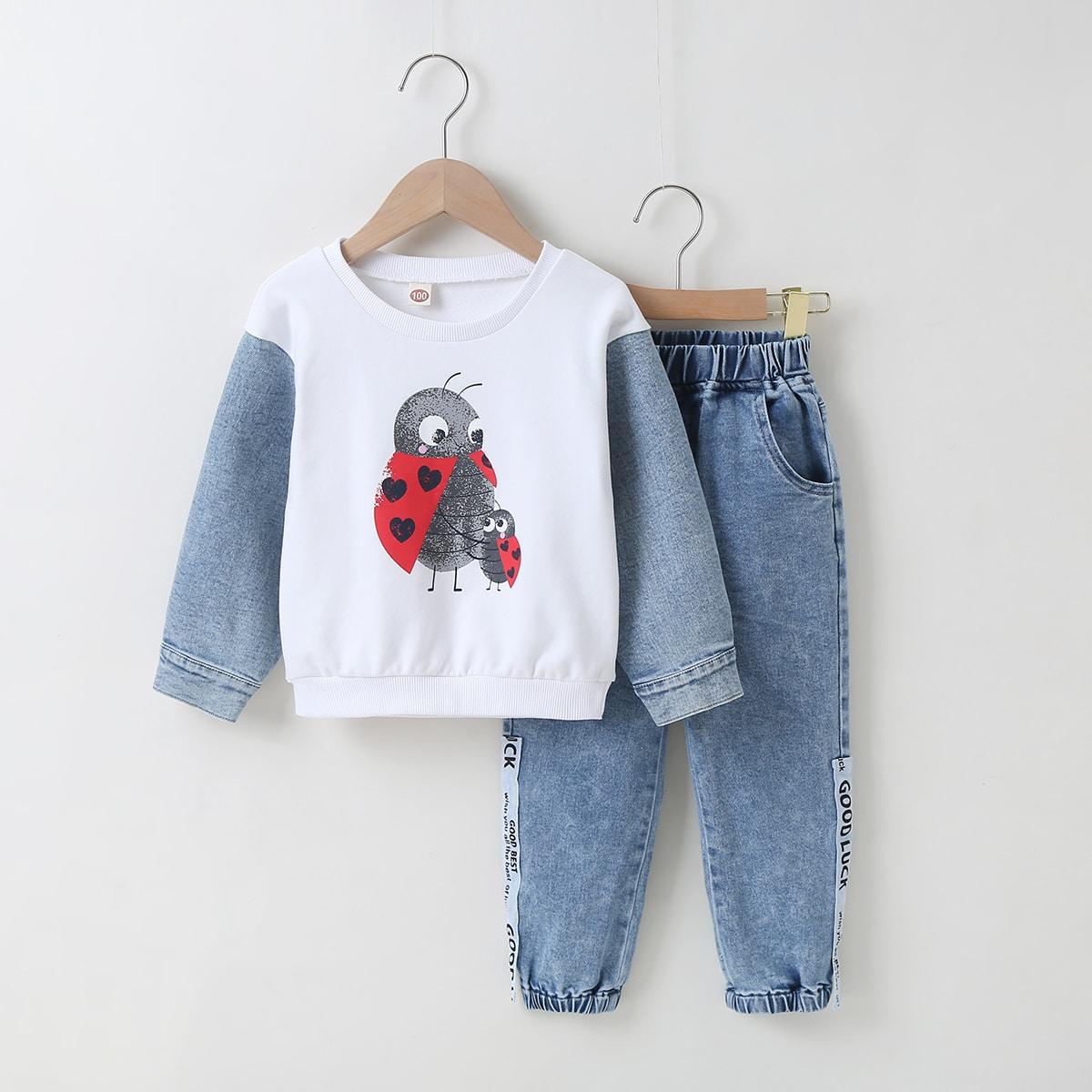 Пуговица карикатура повседневный джинсовые костюмы для девочек