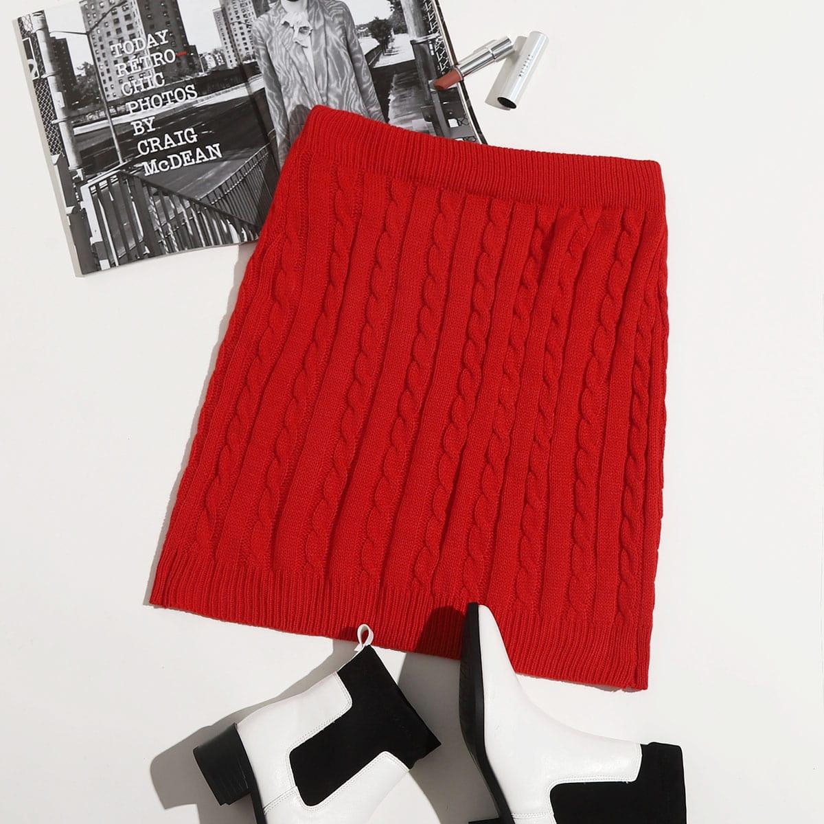 Одноцветный повседневный трикотажные юбки размер плюс