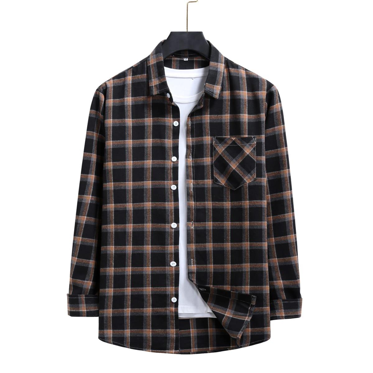 Карман Клетчатый Институтский Мужские рубашки SheIn smshirt01201123892