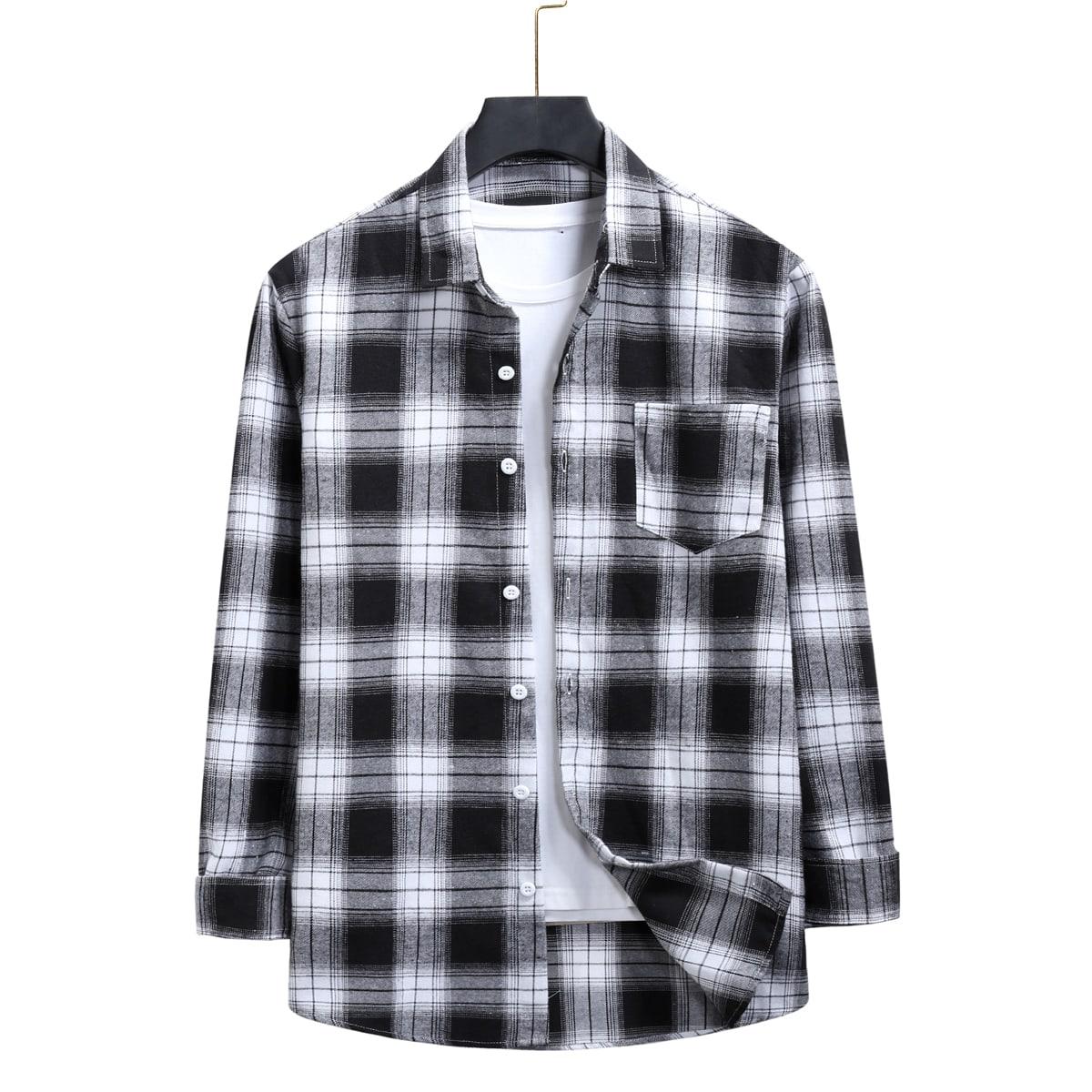 Карман Клетчатый Институтский Мужские рубашки SheIn smshirt01201123409