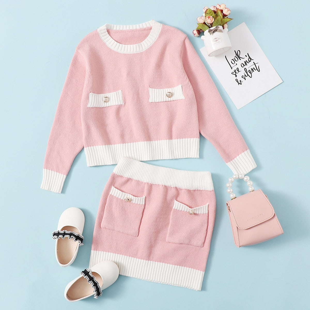 С карманами контрастный цвет повседневный трикотажные комплекты для девочек