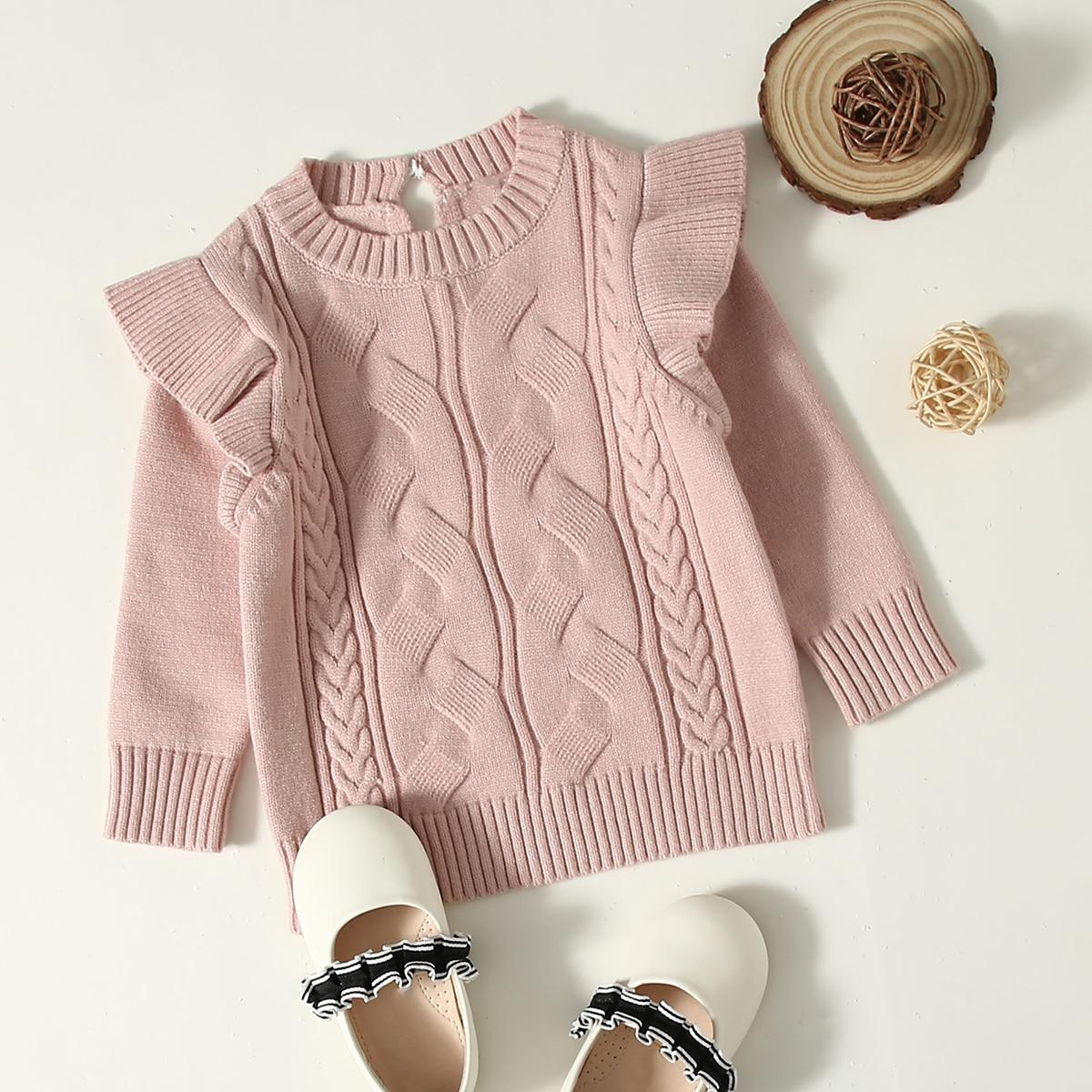 с оборками Одноцветный Повседневный свитеры  для малышей