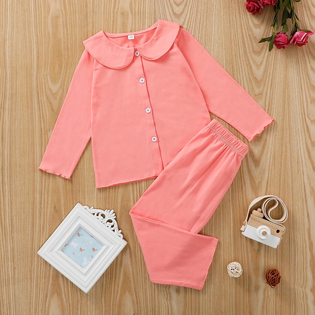 Волнистый край одноцветный милый домашняя одежда для девочек