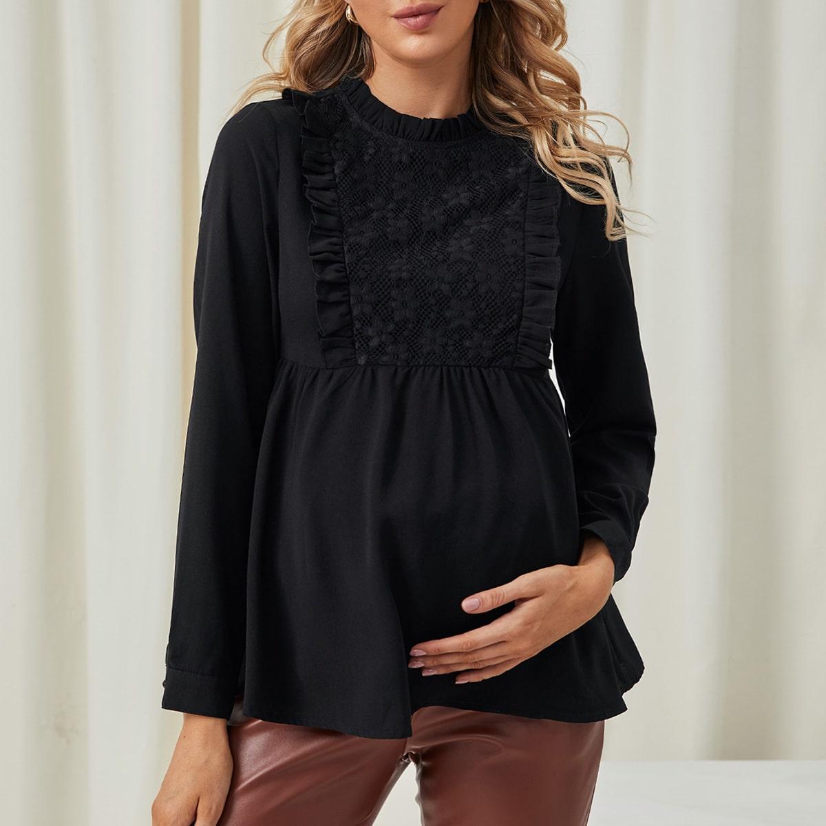 Пуговица одноцветный элегантный блузы для беременных