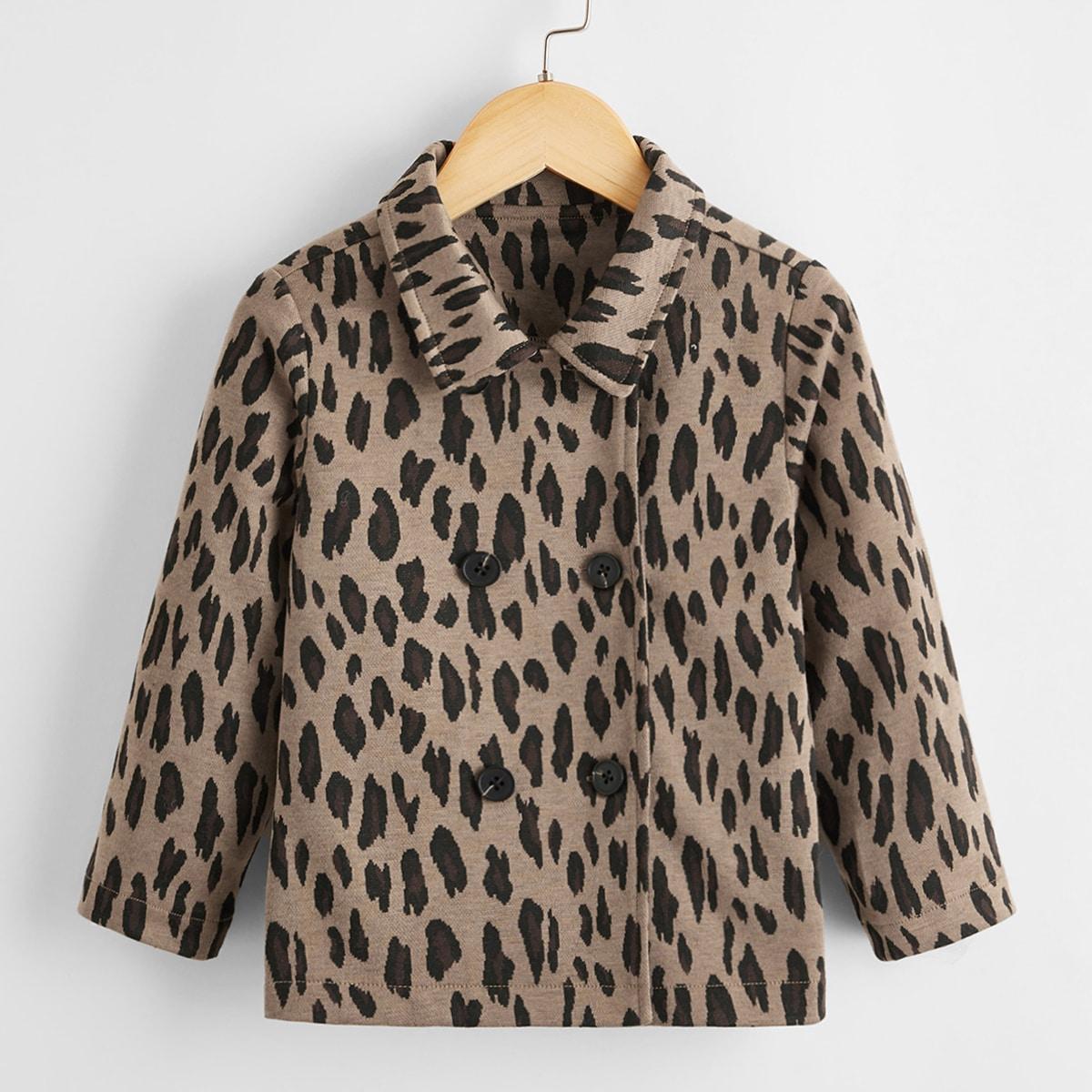 Двойная пуговица принт повседневный пальто для маленьких девочек