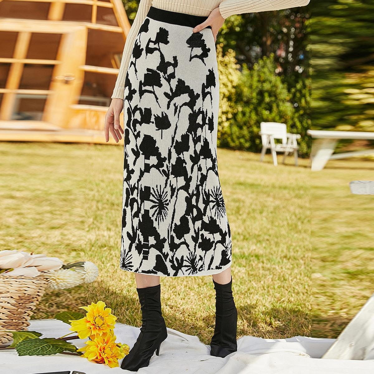 Со цветочками элегантный вязаные юбки