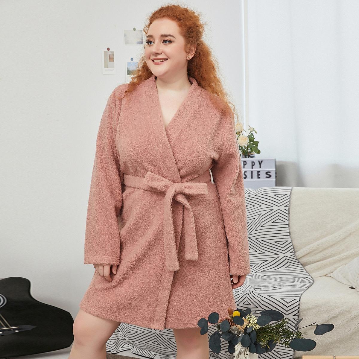 С поясом одноцветный повседневный домашний халат размера плюс