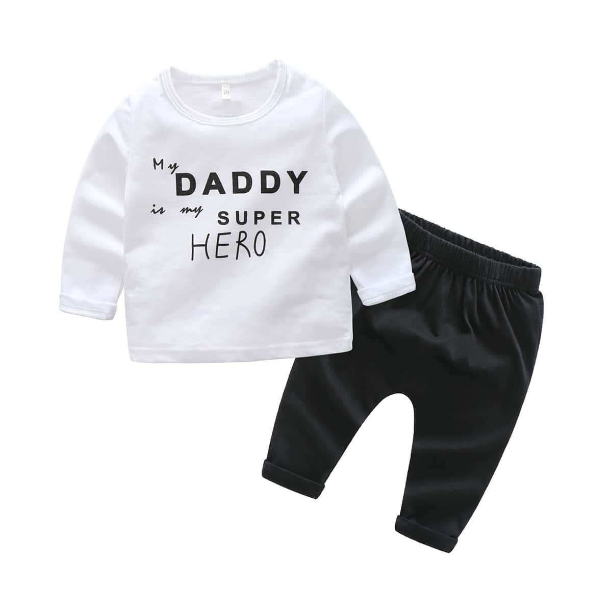 Спортивные брюки и футболка с текстовым принтом для мальчиков