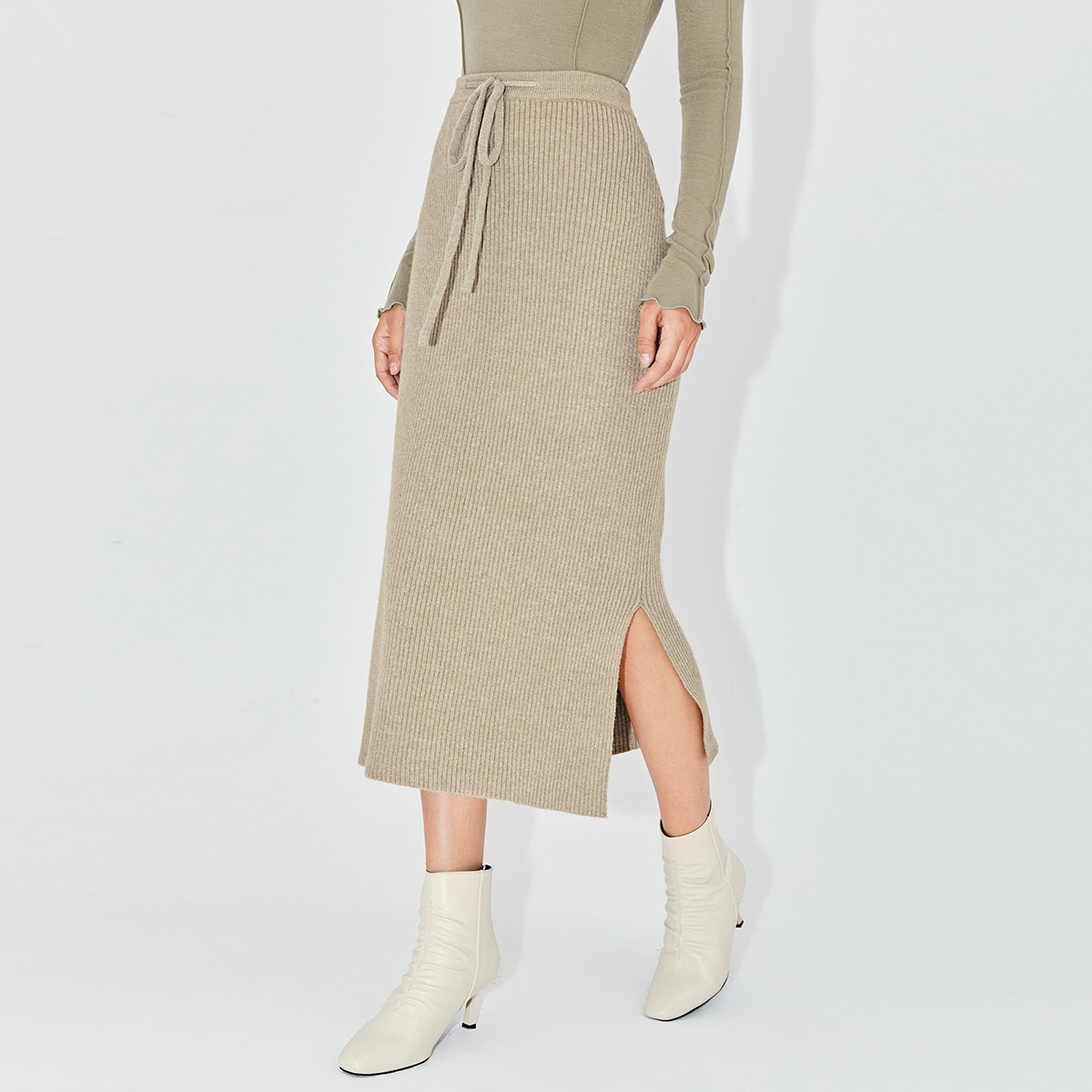 Трикотажный одноцветный повседневный вязаные юбки