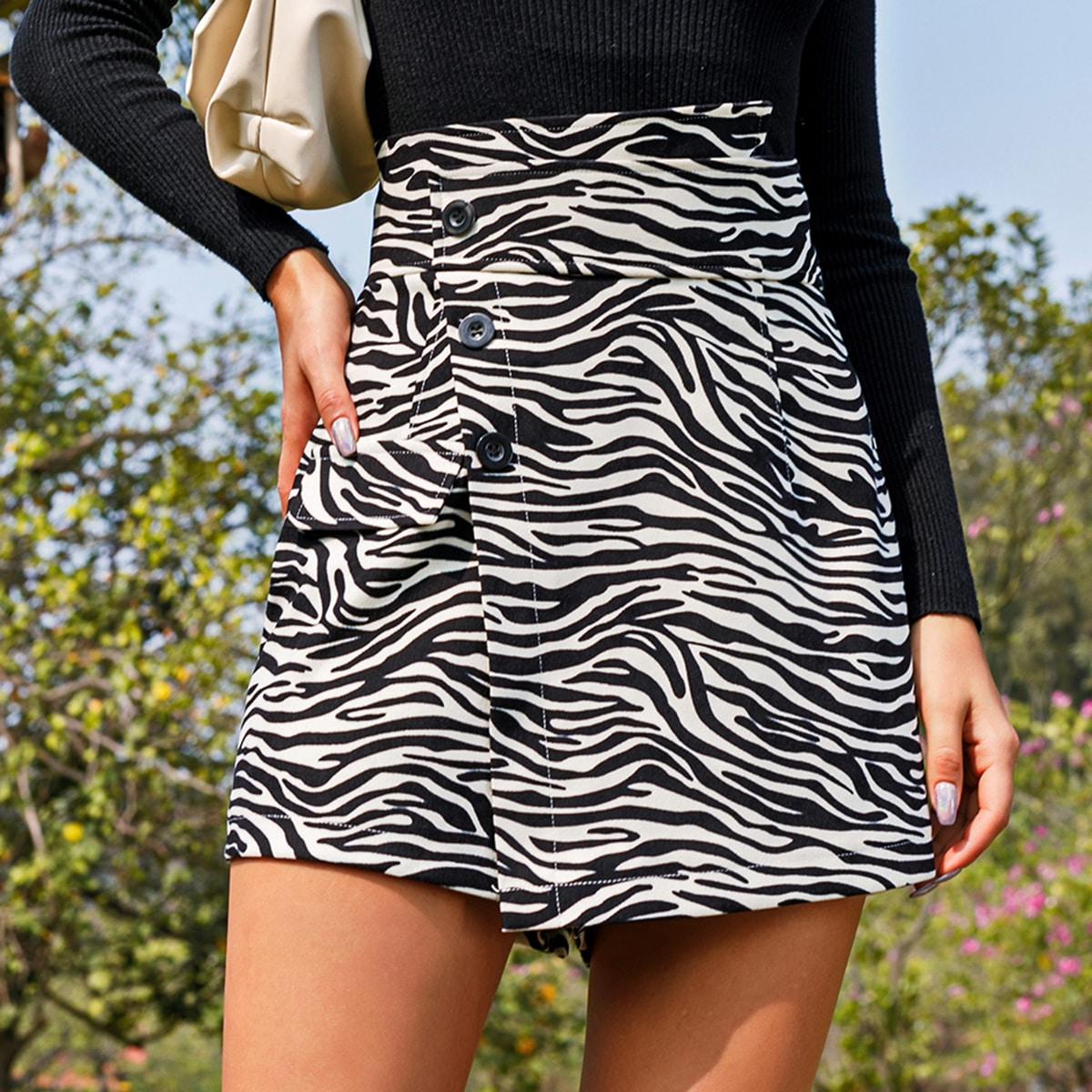 Застежка в полоску зебры повседневный шорты