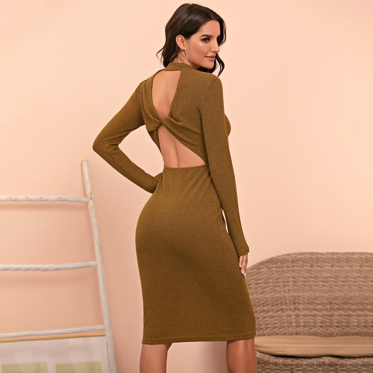 Открытая спина Одноцветный Элегантный Платье