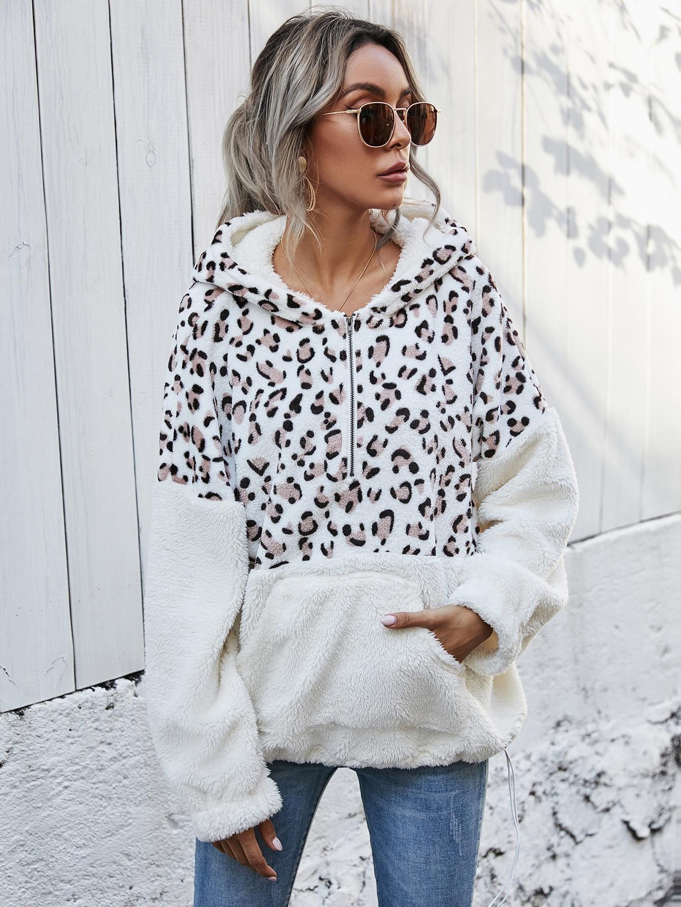 drop shoulder half zip leopard colorblock teddy sweatshirt