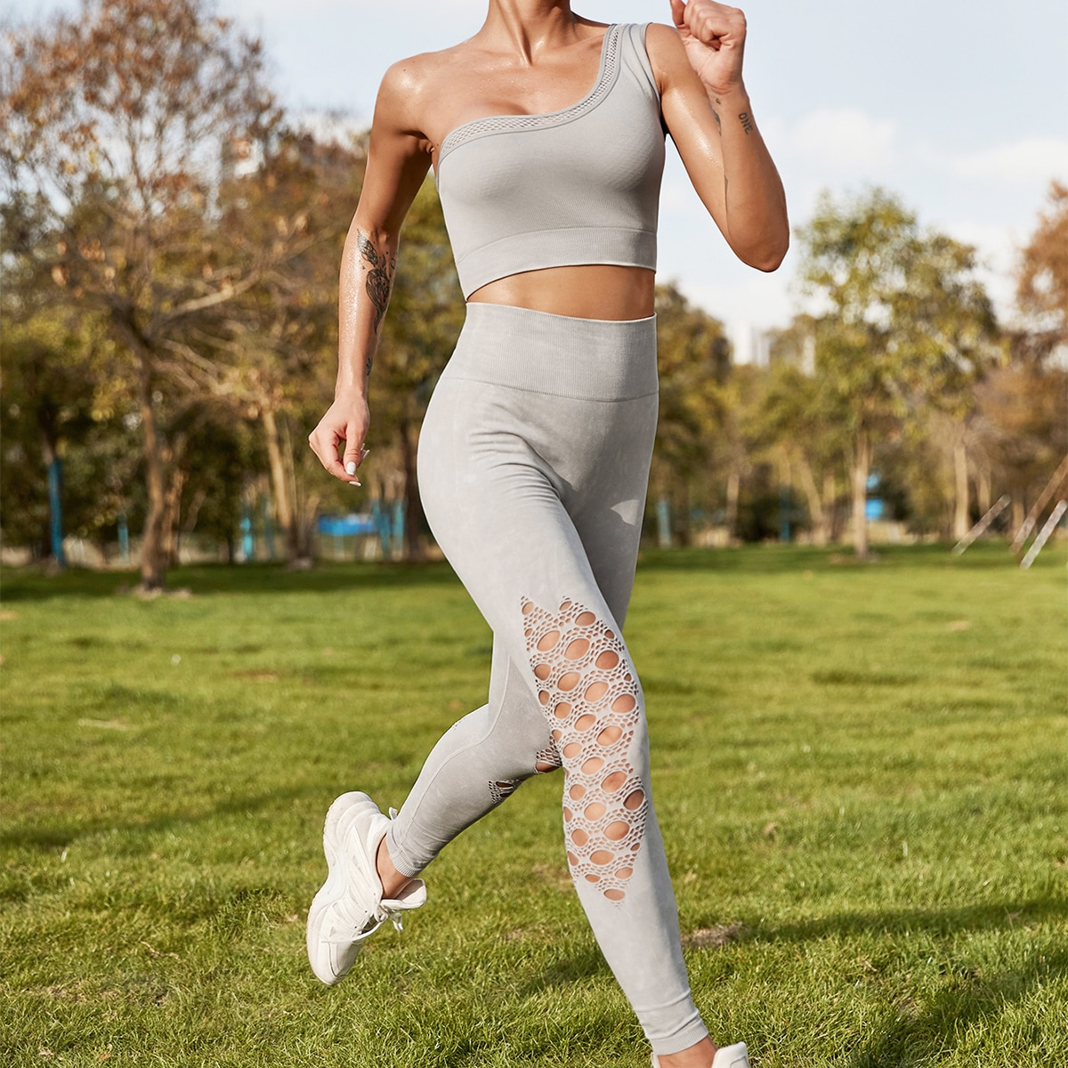 Дышащий впитывающий пот бесшовный спортивный бюстгальтер и леггинсы с хорошей эластичностью - средняя поддержка