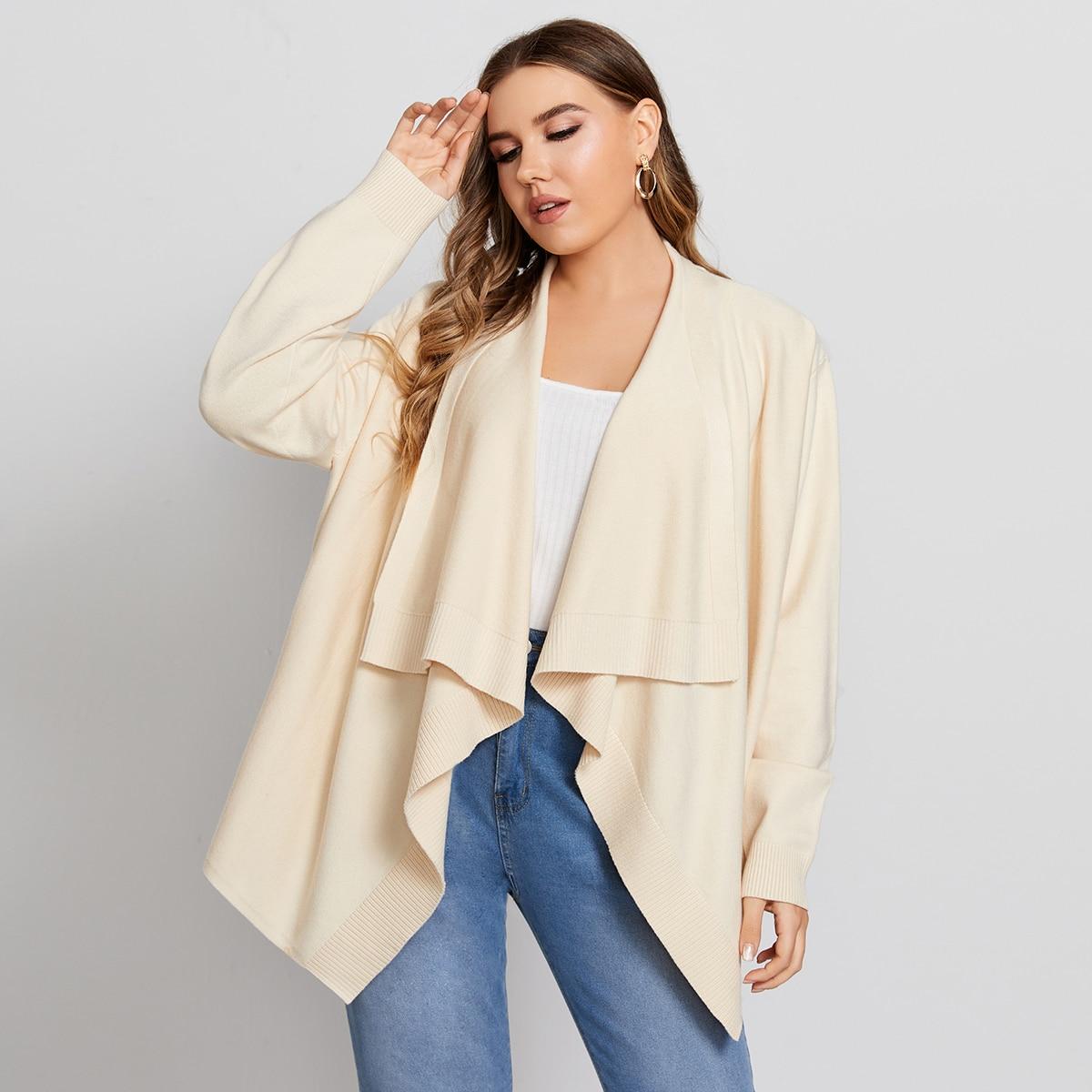 Plus Waterfall Collar Solid Cardigan