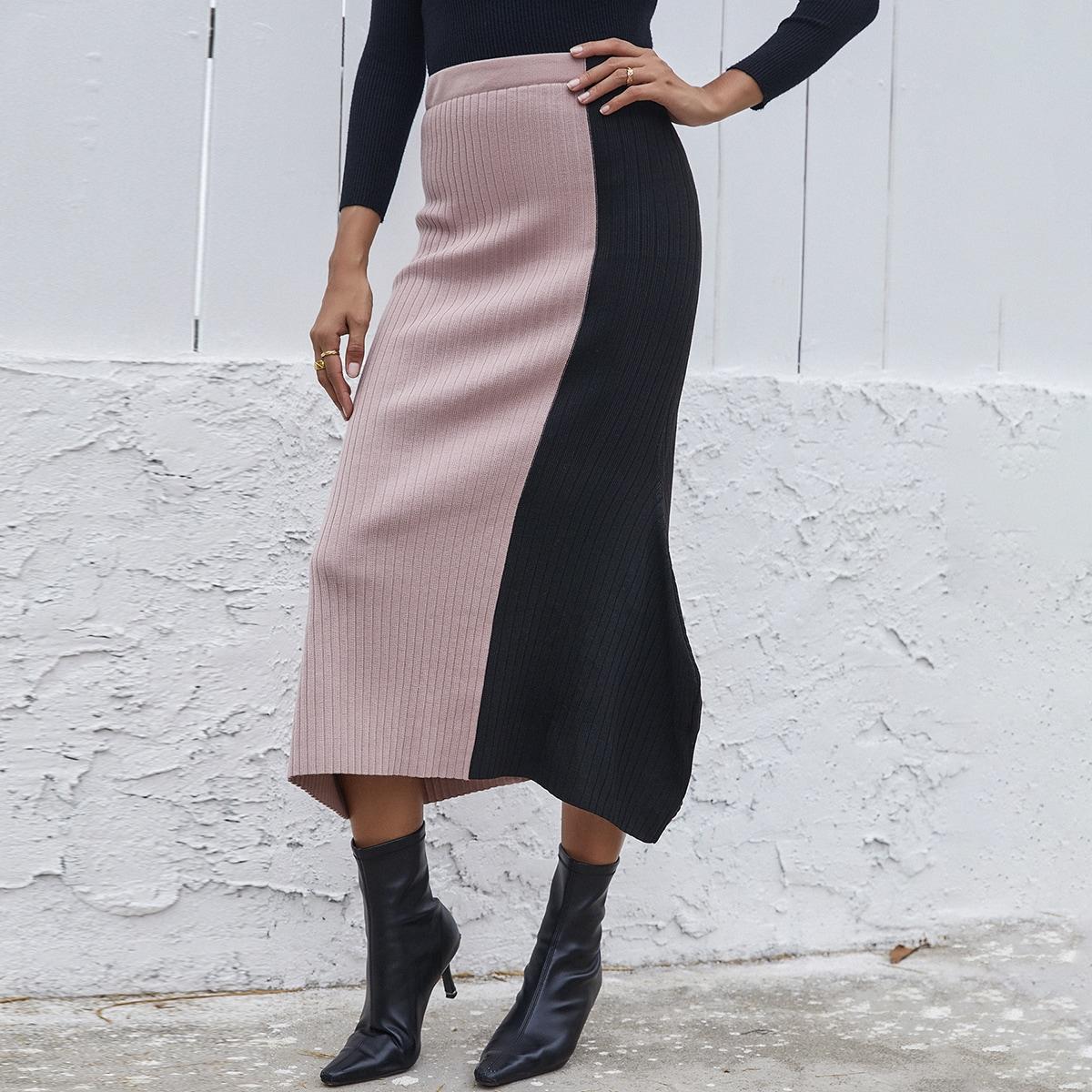 Асимметричный контрастный цвет повседневный вязаные юбки