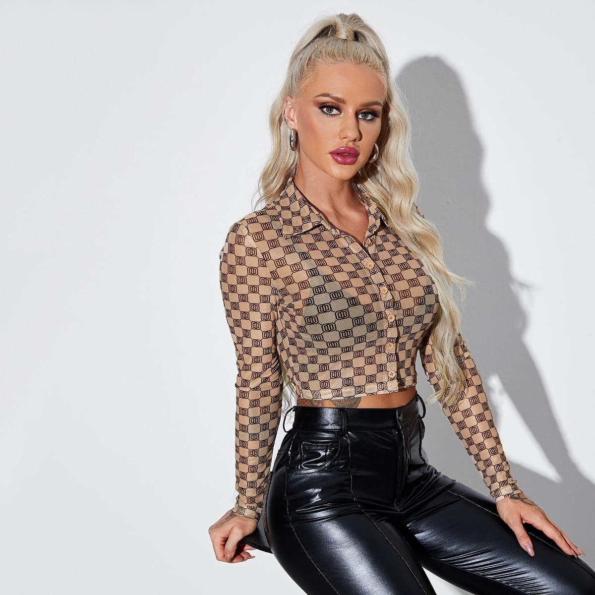 Прозрачный Принт Сексуальный Блузы