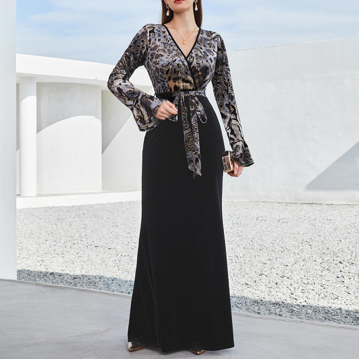 с поясом графический принт Элегантный Платье