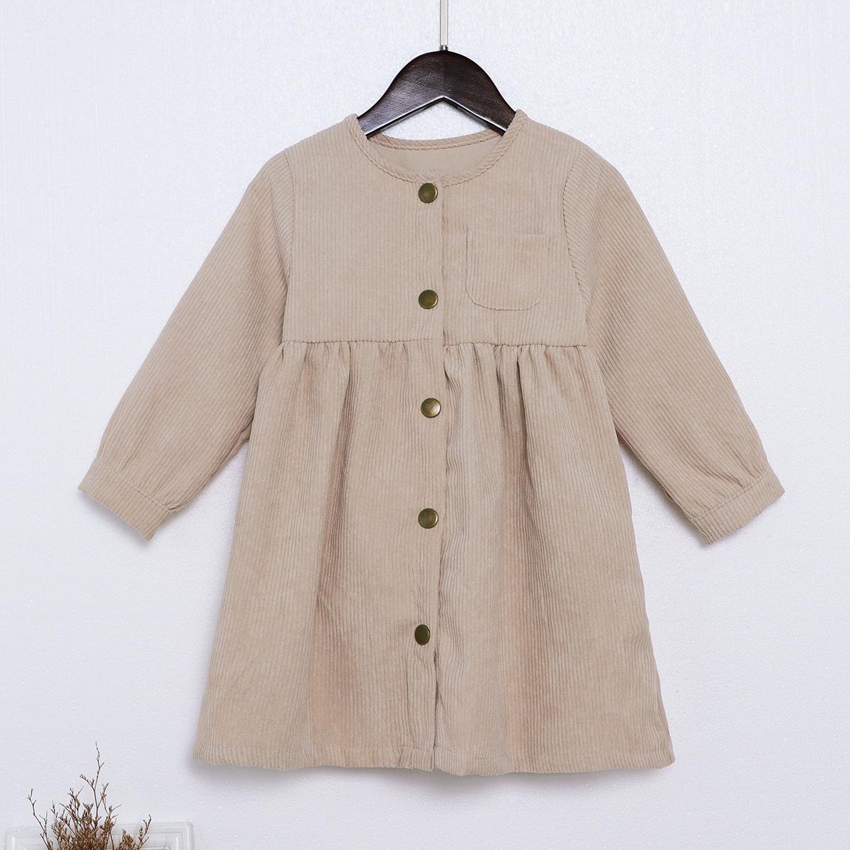 Toddler Girls Button Front Corduroy Smock Dress