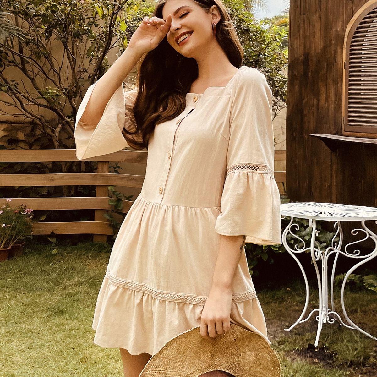 Guipure Lace Insert Bell Sleeve Smock Dress, SHEIN  - buy with discount