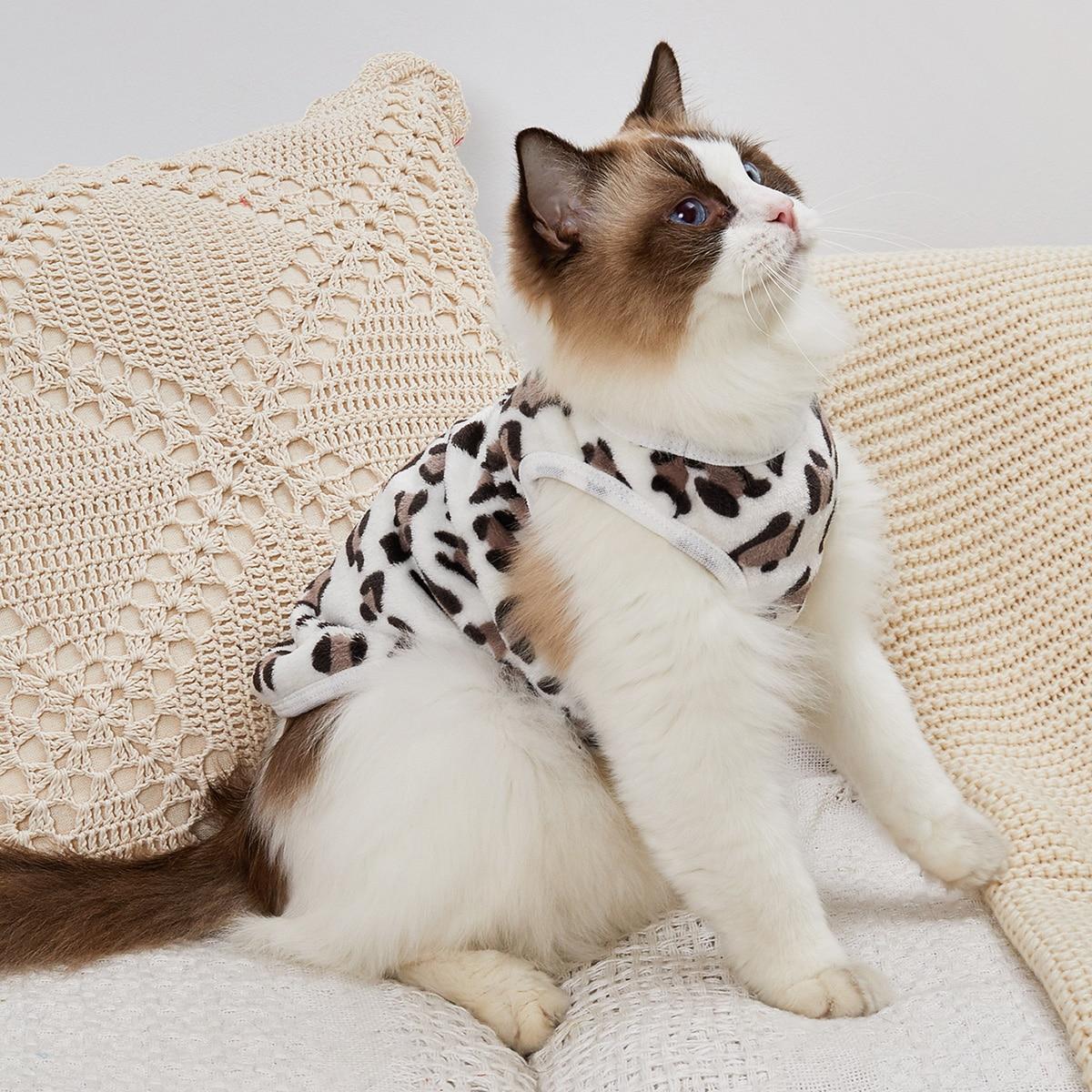 Leopard Print Plush Cat Tank