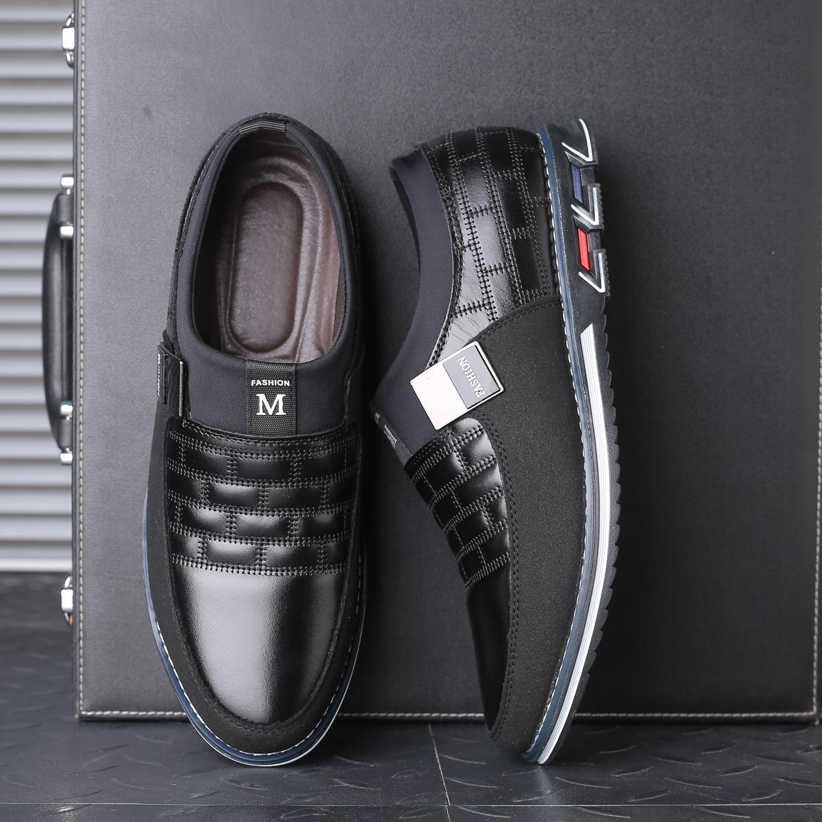 Мужские официальные туфли с текстовой заплатой