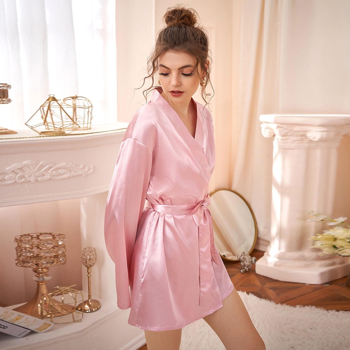 Контрастные кружева одноцветный минимализм ночной халат