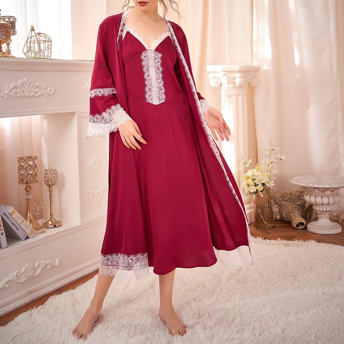 с поясом Контрастный цвет Элегантный Комплект пижамы
