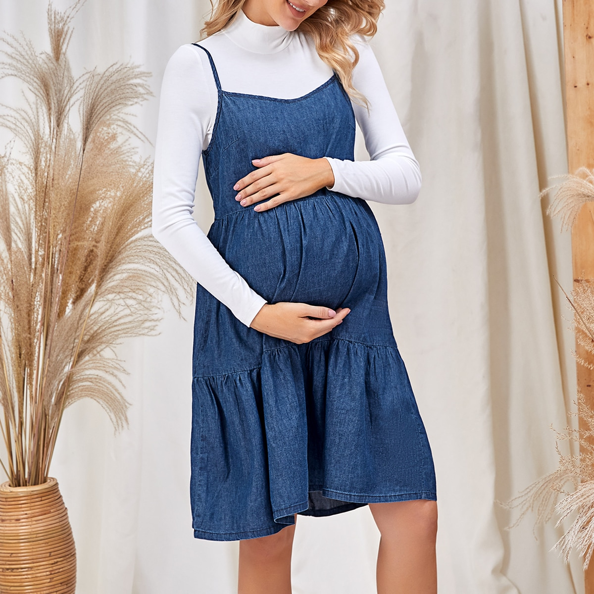 Застежка ровный цвет повседневный джинсовая одежда для беременных