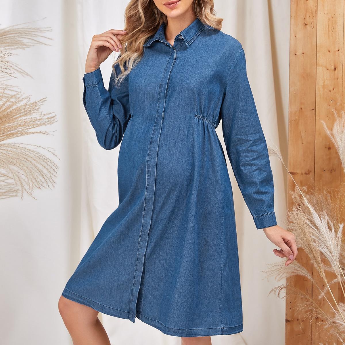 Пуговица ровный цвет повседневный джинсовая одежда для беременных