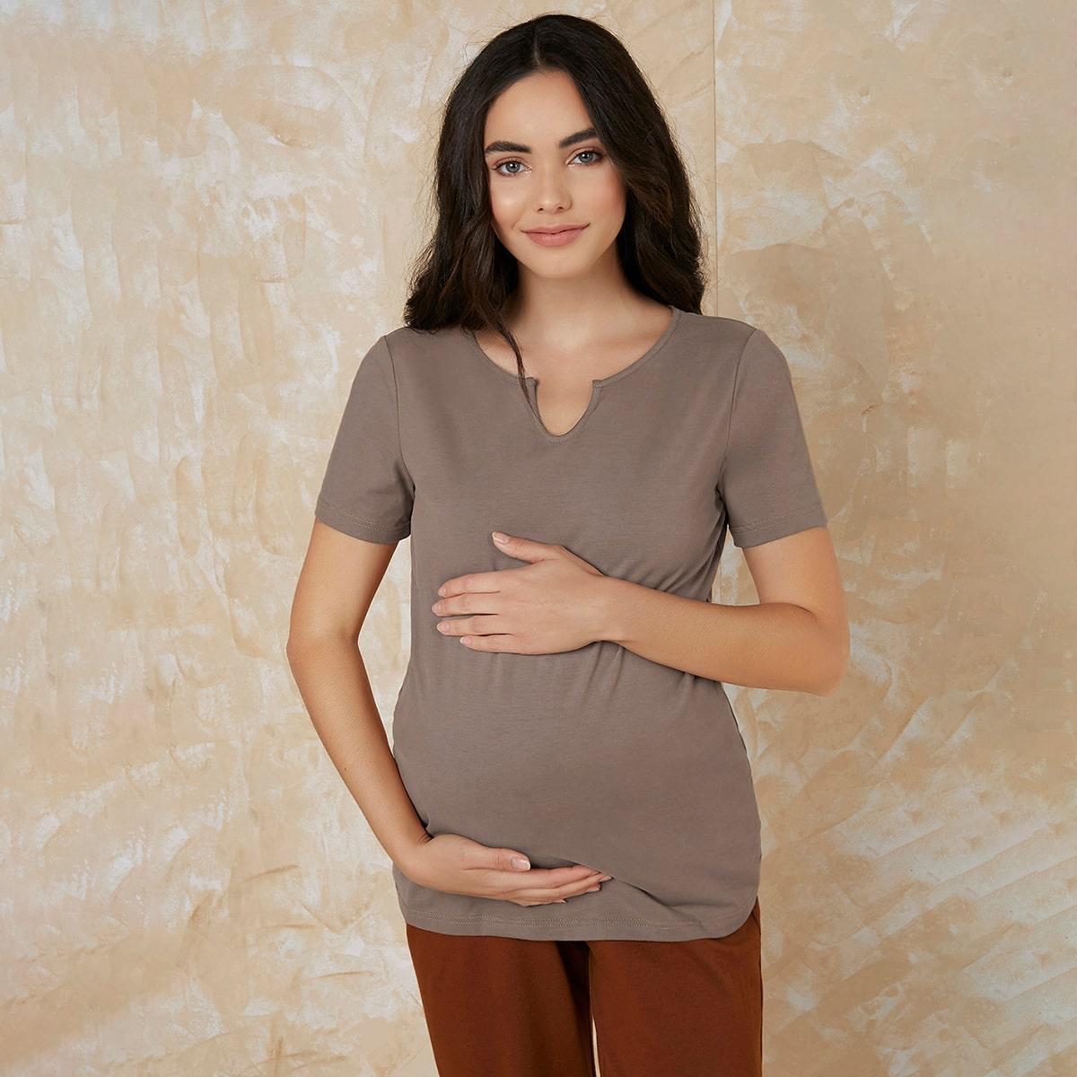 Одноцветный повседневный футболки для беременных