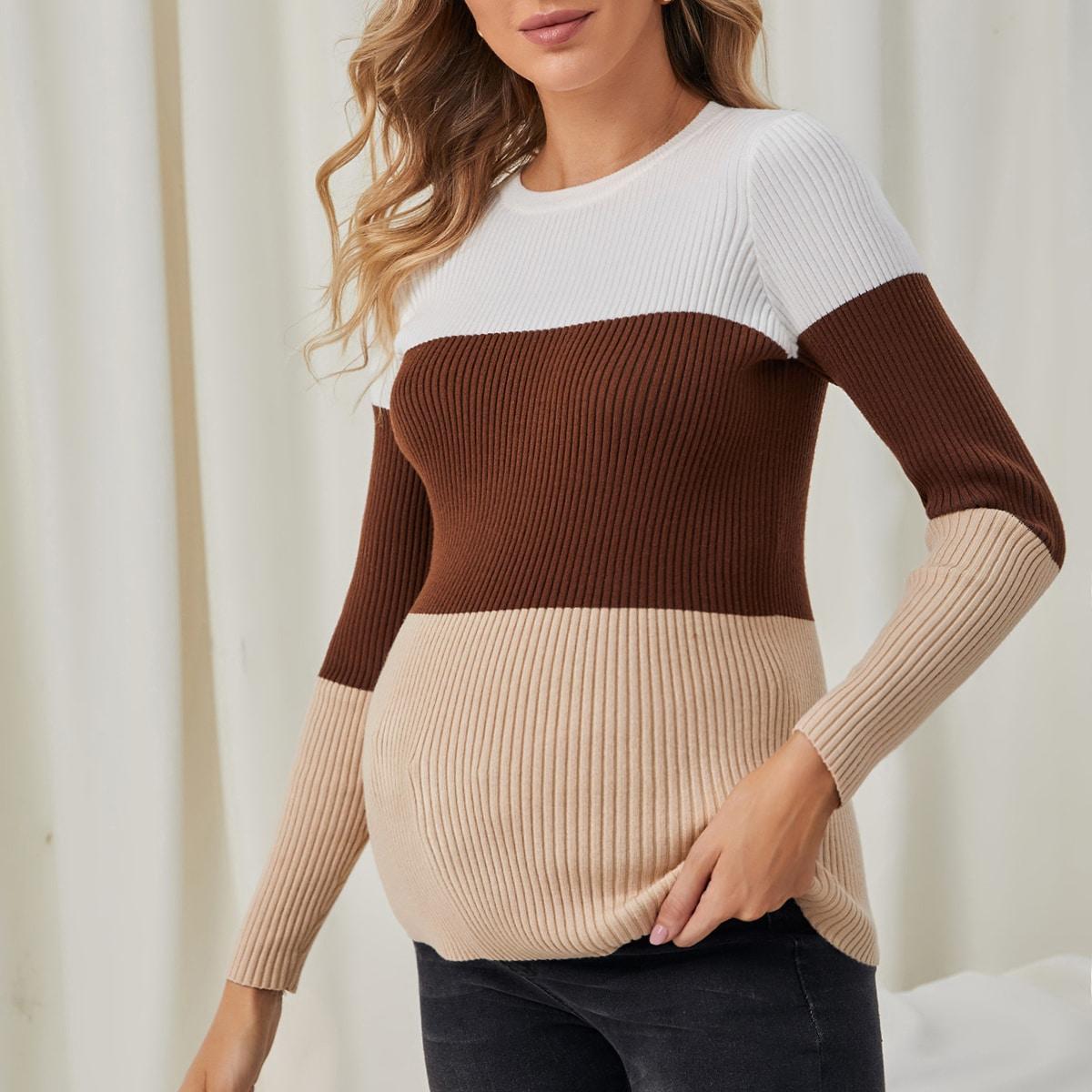 Трикотажный контрастный цвет повседневный свитеры для беременных