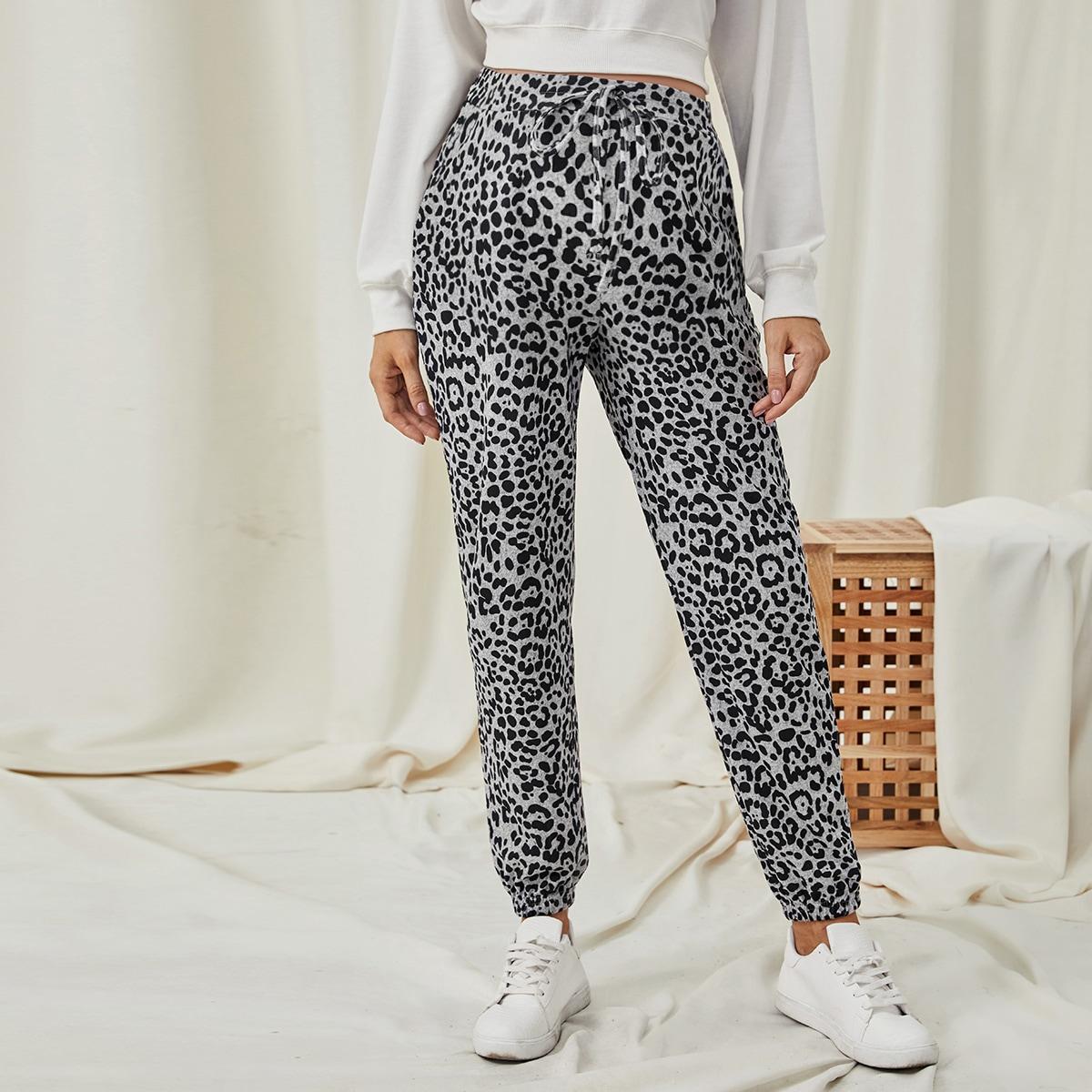 Леопардовые брюки с кружевной талией для беременных