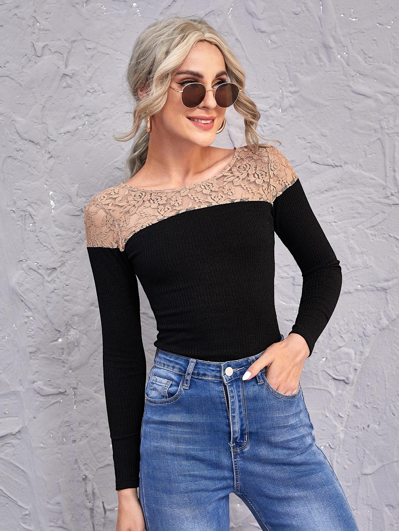 Lace Yoke Rib-knit Slim Tee thumbnail