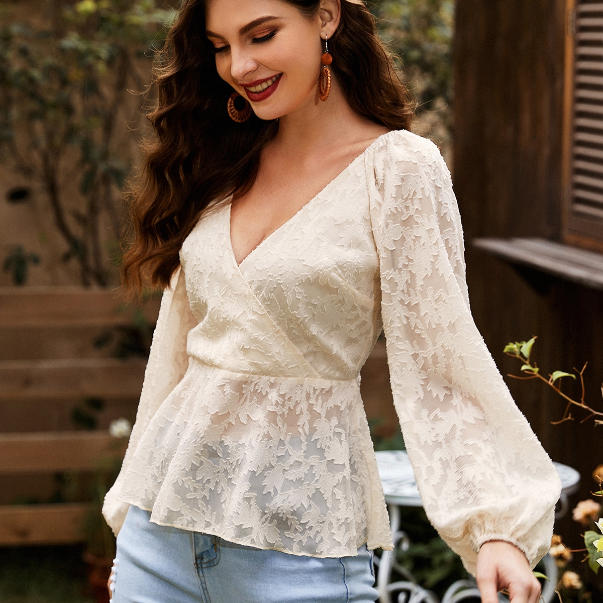 Surplice Neck Appliques Lantern Sleeve Peplum Top, SHEIN  - buy with discount