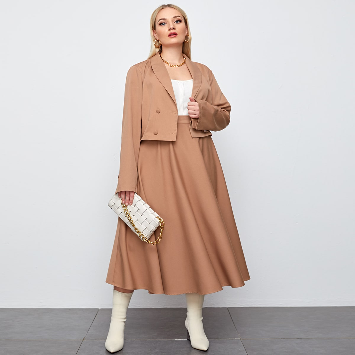 Plus Solid Double Breasted Blazer & Skirt