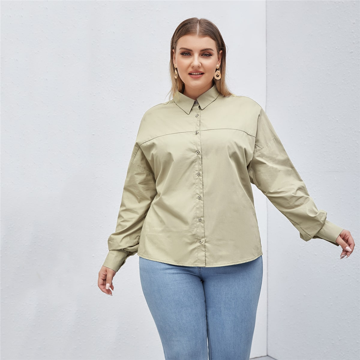 Пуговица Одноцветный Повседневный Блузы размер плюс