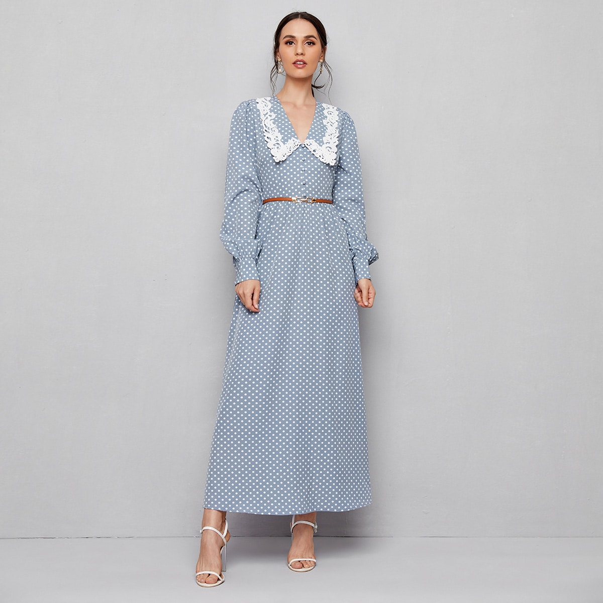 Контрастные кружева в горошек винтажный арабская одежда